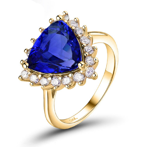 Trillion Shape Tanzanite Diamond Ring