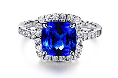 Cushion Halo Tanzanite Ring with Natural Diamonds