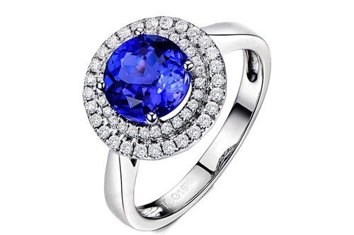 Double Halo Round Classic Tanzanite Ring AAAA