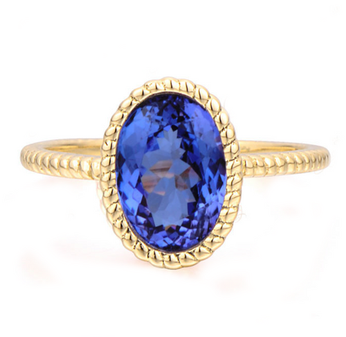 Tanzanite Ring Classic Bezel Set Mounting