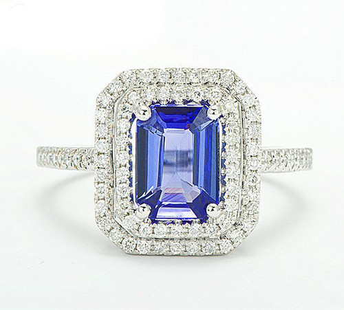 Emerald Cut Halo Tanzanite Diamond Ring AAAA