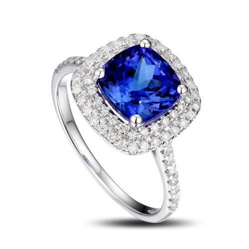 Cushion Halo Tanzanite Ring AAAA with Diamonds
