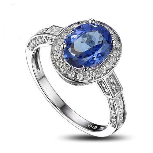 Unique Cushion Cut Elegant Tanzanite Ring AAAA with Diamonds