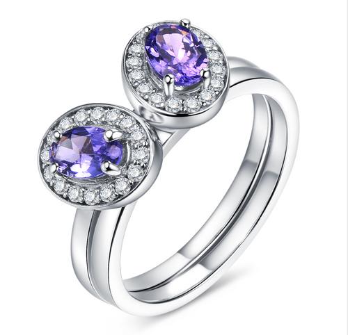Beautiful Two Tanzanite Stackable Rings