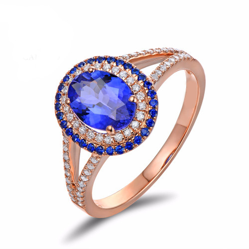 Beautiful Tanzanite Ring with Natural Diamonds and Sapphire