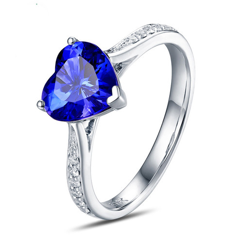 Heart Shape Tanzanite and Diamond Ring