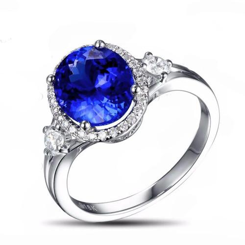 Beautiful Oval Tanzanite Diamond Ring