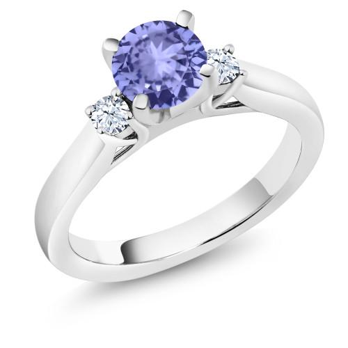Three Stone Tanzanite and Diamond Ring