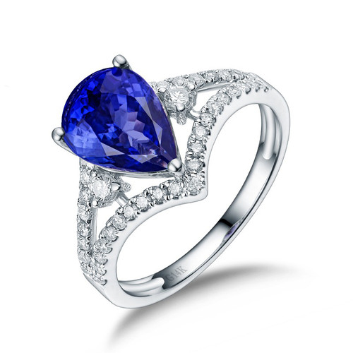 Antique Pear Cut Tanzanite Diamond Ring