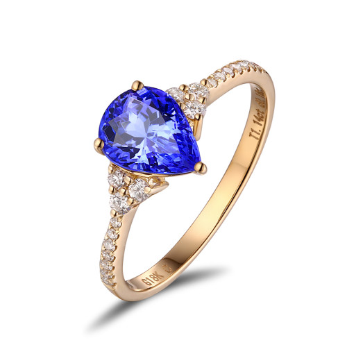 Pear Cut Tanzanite Diamond Ring AAAA Beautiful Design