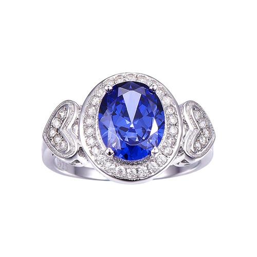 Vintage Classic Style Oval Cut Tanzanite Diamond Ring