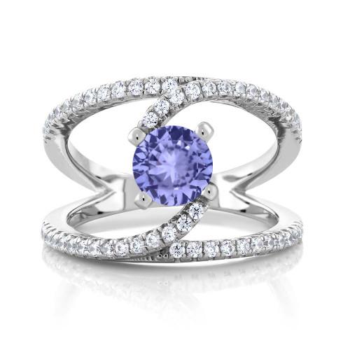 Beautiful Antqiue Swirl Design Tanzanite and Diamond Ring