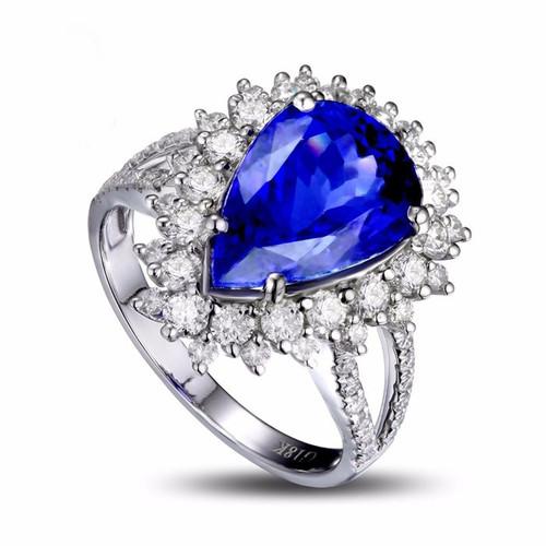 Halo Pear Cut Tanzanite and Diamond Ring