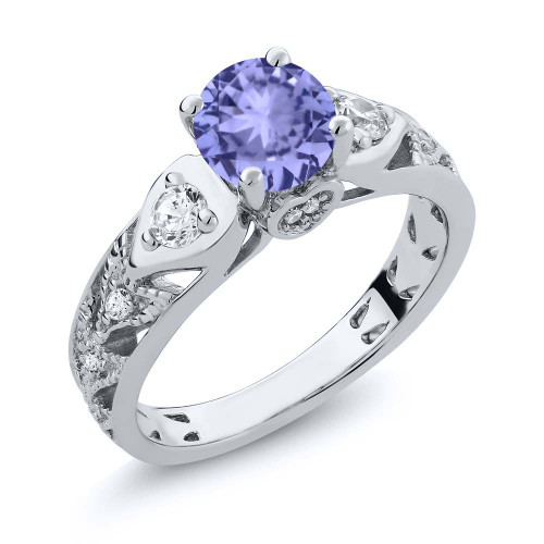 Classic Antique Round Tanzanite Diamond Ring