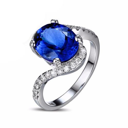 Antique Swirl Oval Cut Tanzanite Diamond Ring AAAA