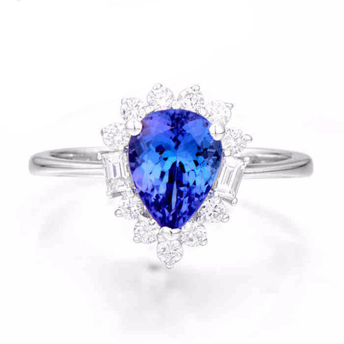 Pear Cut Classic Tanzanite Ring with Diamonds