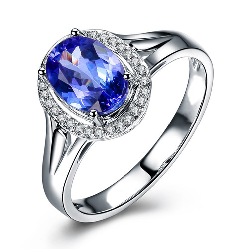 Halo Classic Oval Cut Tanzanite Daimond Ring