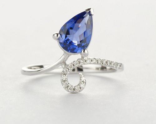 Pear Cut Antique Tanzanite Ring with Diamonds