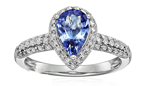 Beautiful Pear Cut Tanzanite Diamond Ring AAAA