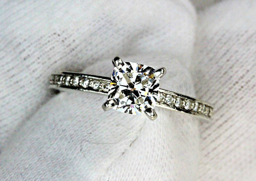 Unique Cushion Cut Diamond Engagement Ring GIA Certified 1.05 F VS1 Ideal Cut