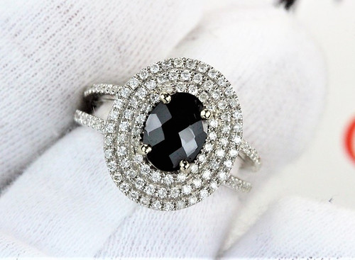 Diamond Engagement Ring with Natural Black Spinel