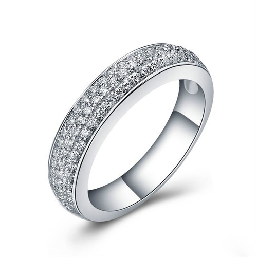 Three Row Round Cut Diamond Wedding Ring  TRD472