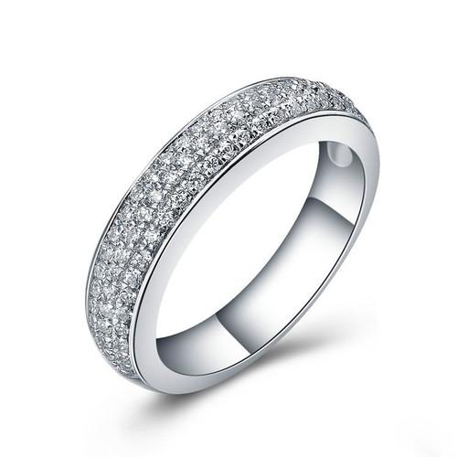 Three Row Round Cut Diamond Wedding Ring  TRD472