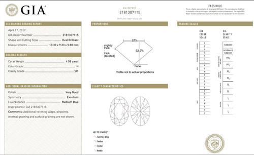 Ova Brilliant Cut Diamond SI1 H 4.58
