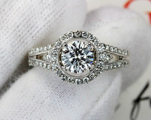 Halo Diamond Engagement Ring - Leo Diamond