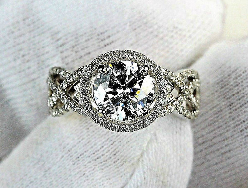 Halo Swirl Engagement Ring - AGS Ideal Cut SI2 G 1.63ct