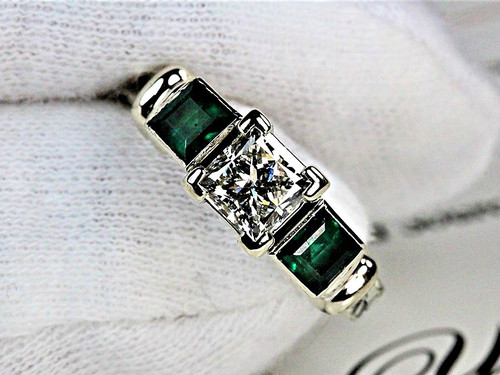 Princess Cut Engagement Ring with Natural Emeralds - GIA 1ct VS2