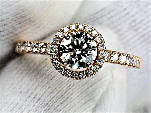 Hearts on Fire Diamond in Rose Halo Engagement Ring - AGS Certified