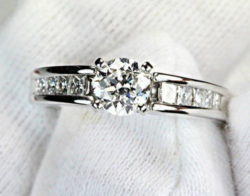 White Gold Engagement Ring - IGI 0.85ct  F SI1