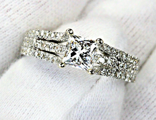 Unique White Gold Engagement Ring - 1ct LEO Princess Cut G SI1