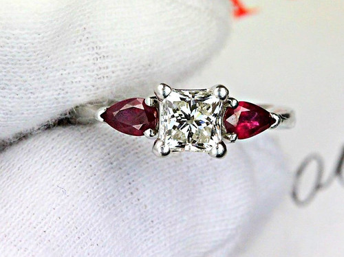 Princess Cut Engagement Ring - Natural Ruby - GIA Diamond