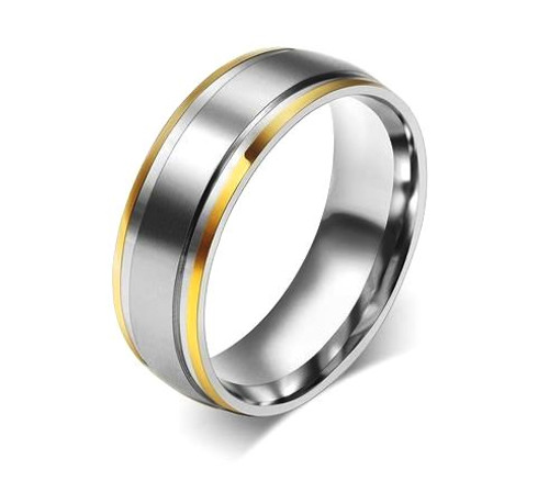 Two Tone Men's Wedding Band 5mm WBB259
