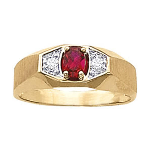 Men's Ruby Diamond Ring G10007 5mm