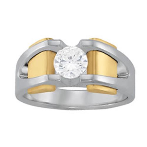 Men's Two Tone Antique Diamond Ring 7MM 1 Carat Diamond D00392
