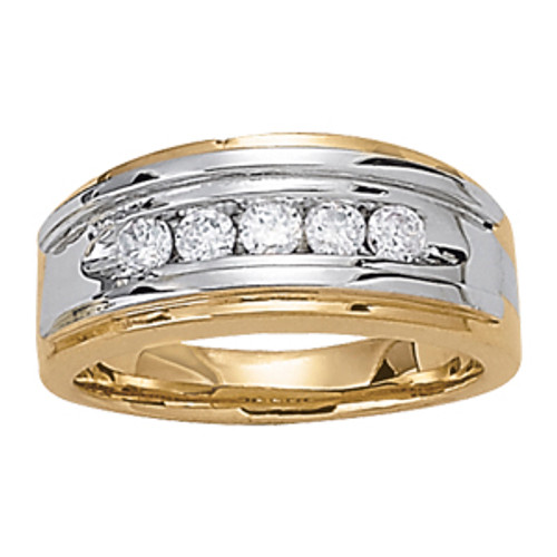 Two Tone Men's Diamond Wedding Band M000494