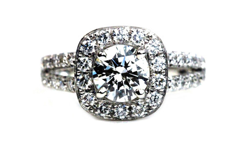 Platinum Split Shank Halo Engagement Ring 3x GIA Certified Diamond 1.1 Carat H SI2  and Wedding Band