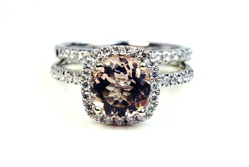Unique Diamond Morganite Engagement Ring and Wedding Band
