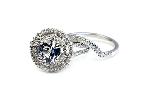Unique Halo Engagement Ring & Band -Diamonds & Sapphire