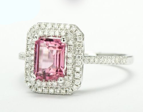 Emerald Cut Pink Tourmaline Ring Gemstone T99482