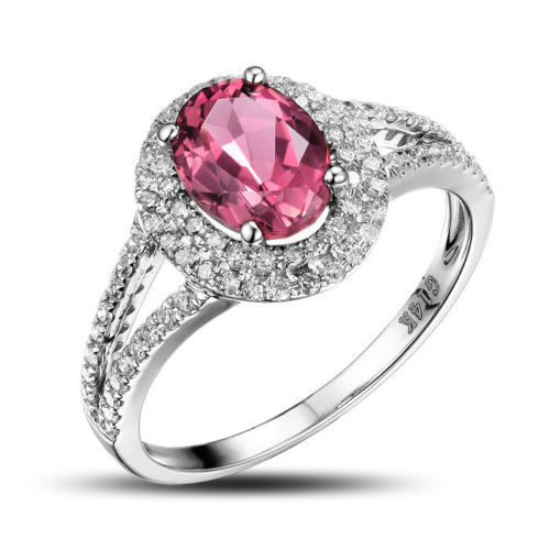 Oval Pink Tourmaline Pave Set Diamond Engagement Ring T94843