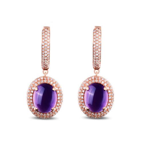 14K Gold Cabochon Cut Purple Amethyst Dangle Earrings
