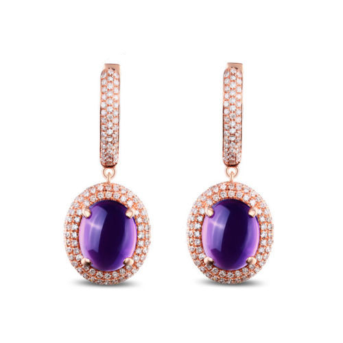 14K Gold Cabochon Cut Purple Amethyst Dangle Earrings