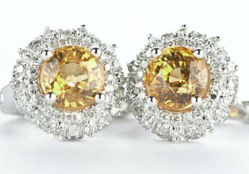 Yellow Citrine Pave Set Diamond Earrings C84921
