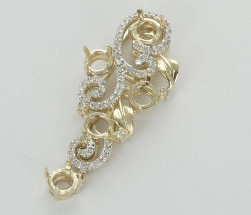 14k Yellow Gold Natural Diamond Semi Mount Pendant