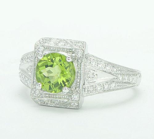 Round Green Peridot Diamond Engagement Ring P44832
