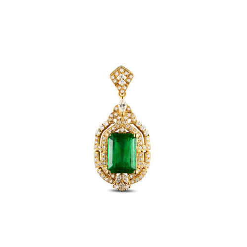 Natural Deep Green Emerald Pave Set Diamond Gold Pendant G00423
